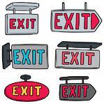 drawings of six different exit signs