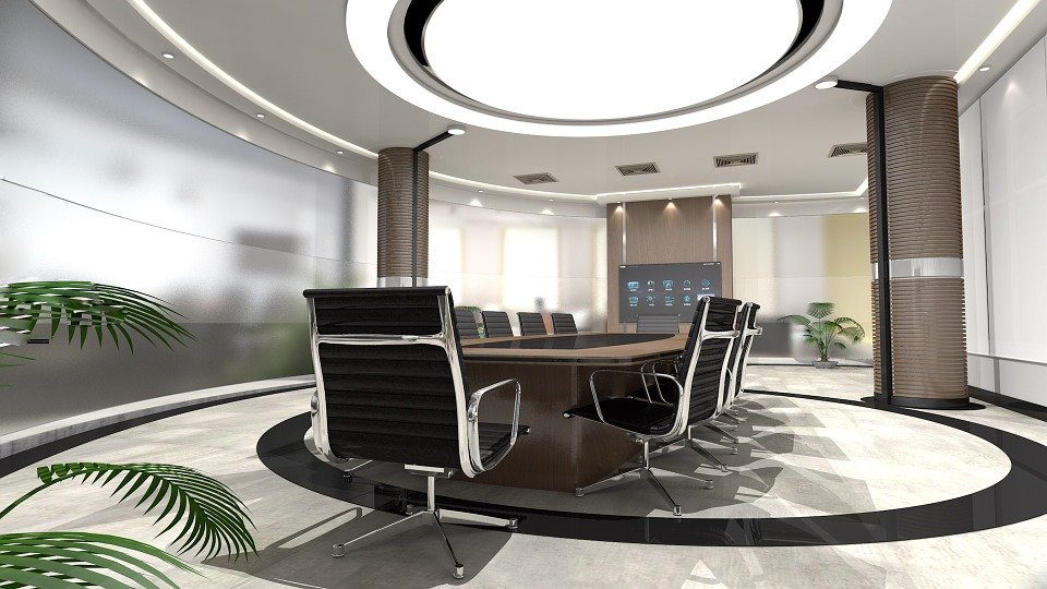 modern office with LED lights
