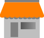 building with a bright orange canopy